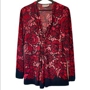 Simonton Says Red Pink Black Floral Top